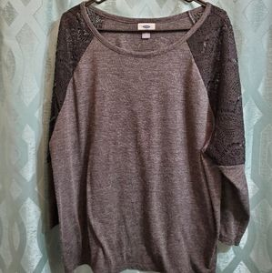 Old Navy Black and Grey Lace Top